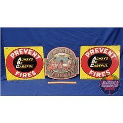 """Sign Trio: Vintage """"Prevent Forest Fires"""" Single Sided Tin (2) (15"""" x 17"""") & Repro / Man Cave Single"""