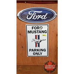 """Repro / Man Cave Signs Single Sided Tin (Embossed) (2): Ford Oval (7-3/4"""" x 20"""") & Ford Mustang Park"""