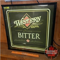 """Light Up Beer Sign """"Western Premium Bitter"""" (20""""H x 20""""W x 5""""D) Working (Note: Tape Repairs)"""