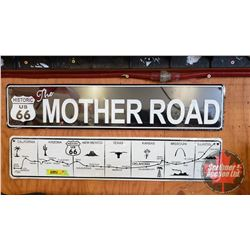 """Repro / Man Cave Signs Single Sided Tin (Embossed) (2): """"Historic US 66 MOTHER ROAD"""" (5"""" x 24"""") & """"H"""