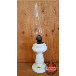 """Coal Oil Lamp: Milk Glass Pedestal """"Made in Hungary"""" (20""""H Total Height w/Chimney)"""