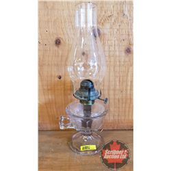 """Coal Oil Finger Lamp: Pedestal """"Queen Mary"""" (Purple Hue) (15""""H Total Height w/Chimney)"""