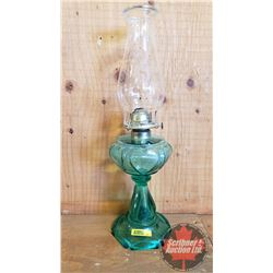 "Coal Oil Lamp: Pedestal ""Risdon"" Green Sweetheart (19"" H Total Height w/Chimney)"