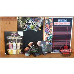 "Bar Promo Advertising Combo: Big Bang Chalkboard Single Side Tin Sign (32"" x 23""), Boston Pizza Chal"