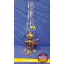 "Coal Oil Finger Lamp: Pedestal ""P&A"" Bullseye Pattern with Loop Handle (16"" H Total Height w/Chimney"