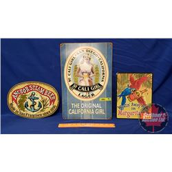 """Repro / Man Cave Signs Single Sided Tin (3): """"So. Cali Girl"""" Beer (17-1/2"""" x 11-1/2"""") & """"Anchor Stea"""