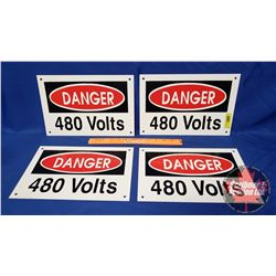 """""""Danger 480 Volts"""" Single Sided Tin Signs (4) (8"""" x 12"""")"""