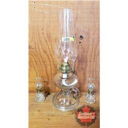 Coal Oil Lamp - Trio:  B&P  Pedestal Finger Lamp (Tallest 15 H Total Height w/Chimney) + 2 Mini's