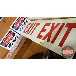 "Signage Combo: 2 ""Exit"" (Metal) (12"" x 18"") & 2 ""Danger 480 Volts"" (Metal) (8"" x 12"") & ""POLICE"" Hiw"