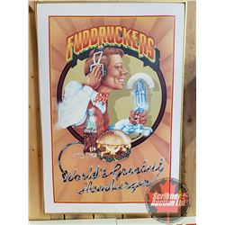 "Framed ""FUDRUCKERS World's Greatest Hamburger"" Picture (No Glass) (37"" x 25"")"