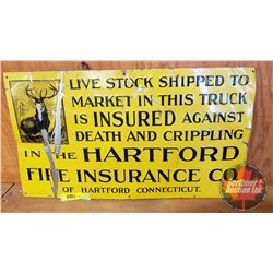 """Hartford Fire Insurance"" Single Sided Tin Embossed Sign (11"" x 19-1/2"")"