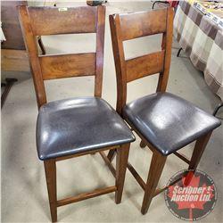 "Pair of Padded Seat Bar Stools (43""H)"
