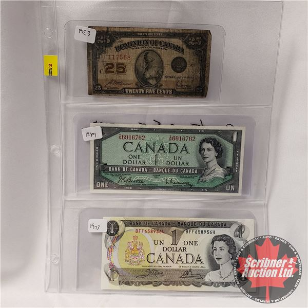 "Canada Bills (3): 1923 Twenty Five Cent ""Shinplaster"" ; 1954 $1 Bill ; 1973 $1 Bill  (See Pics for S"