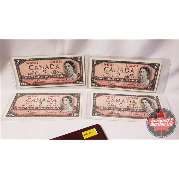 Canada $2 Bills 1954 (4 Consecutive) Bouey/Rasminsky : KG3085654-55-56-57
