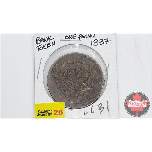 Province du bas Canada Bank Token One Penny 1837