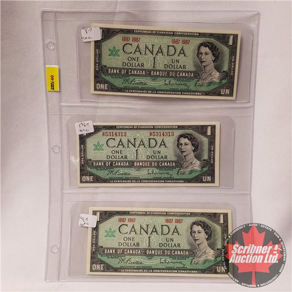 Canada $1 Bills 1967 Centennial (3): (See Pics for Signatures/Serial Numbers)