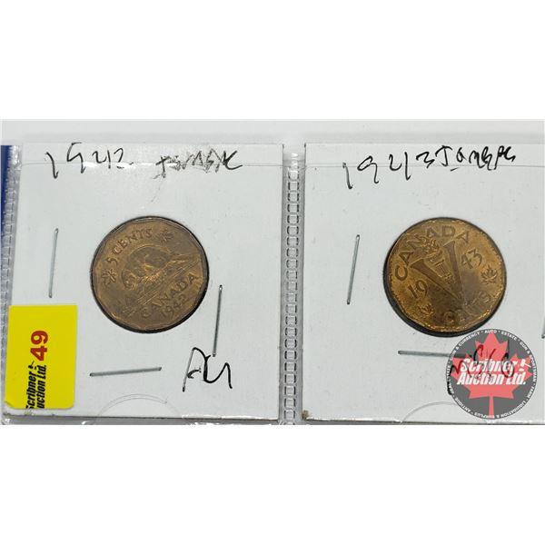 Canada Five Cent - Strip of 2: 1942 Tom ; 1943 Tom