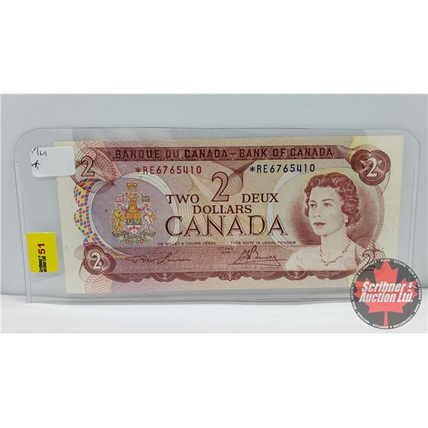 Canada $2 Bill * Replacement 1974 (See Pics for Signatures/Serial Numbers)