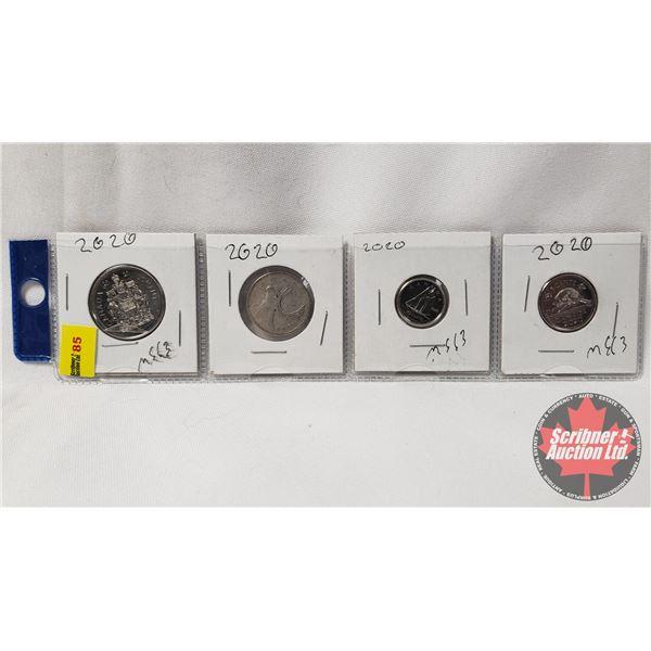 Canada Coins 2020 - Strip of 4: Five Cent; Ten Cent; Twenty Five Cent; Fifty Cent
