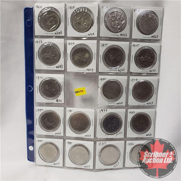 Canada One Dollar - Sheet of 20: 1968; 1969; 1970; 1971; 1972; 1973; 1974; 1975; 1976; 1982; 1979; 1