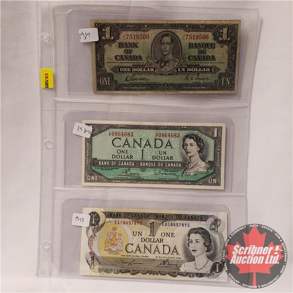 Canada $1 Bills (3): 1937 ; 1954; 1973 (See Pics for Signatures/Serial Numbers)