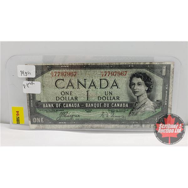 Canada $1 Bill 1954DF : Coyne/Towers FA7797967