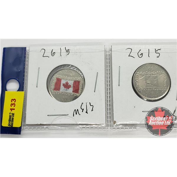 Canada Twenty Five Cent - Strip of 2: 2015 Canada Flag Color & Non Color