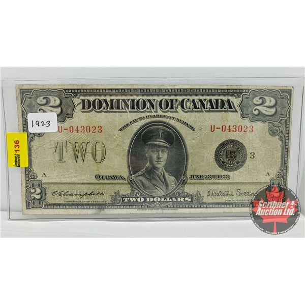 """Dominion of Canada $2 Bill 1923 """"Horse Blanket"""" (See Pics for Signatures/Serial Numbers)"""