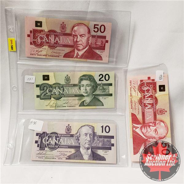 Canada Bills (4) Bird Series : 1988 $50 ; 1988 $50 ; 1991 $20 ; 1989 $10 (See Pics for Signatures/Se