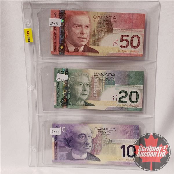 Canada Bills (3): 2004 $50 ; 2004 $20 ; 2001 $10 (See Pics for Signatures/Serial Numbers)