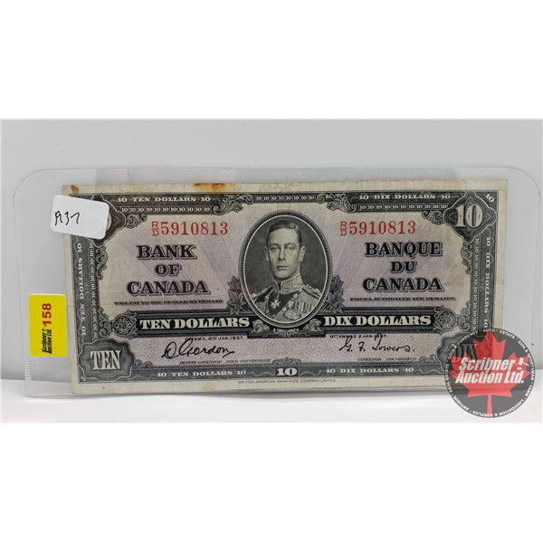Bank of Canada $10 Bill 1937 : Gordon/Towers RD5910813