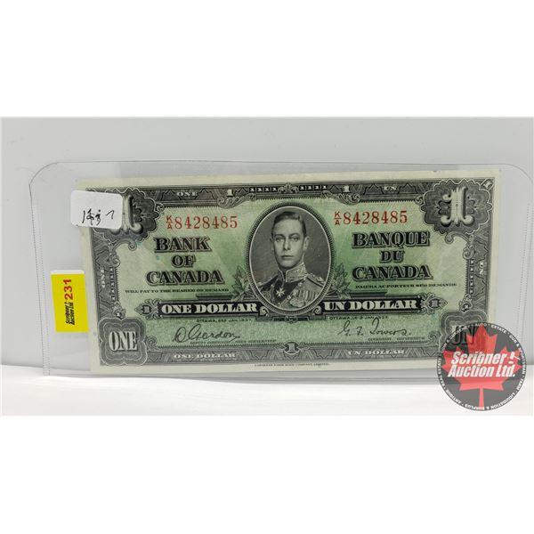Bank of Canada $1 Bill 1937 : Gordon/Towers KA8428485