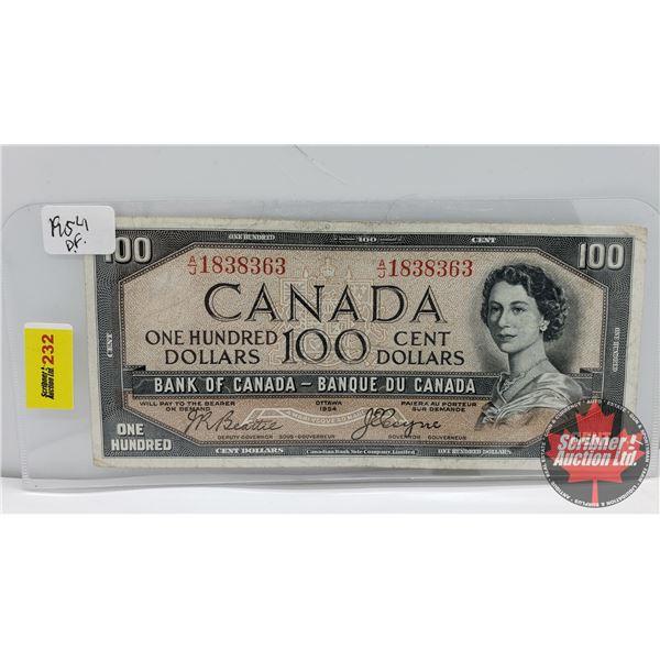 Canada $100 Bill 1954DF : Beattie/Coyne AJ1838363