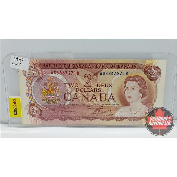 Canada $2 Bill 1974 : Lawson/Bouey AGB8672718