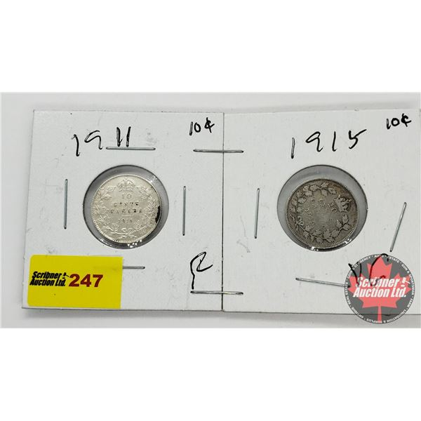Canada Ten Cent - Strip of 2: 1911; 1915