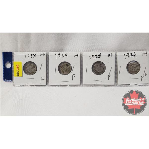 Canada Ten Cent - Strip of 4: 1933; 1934; 1935; 1936