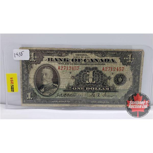 Bank of Canada $1 Bill 1935 : Osbourne/Towers A2712457