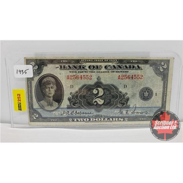 Bank of Canada $2 Bill 1935 : Osbourne/Towers A2564552