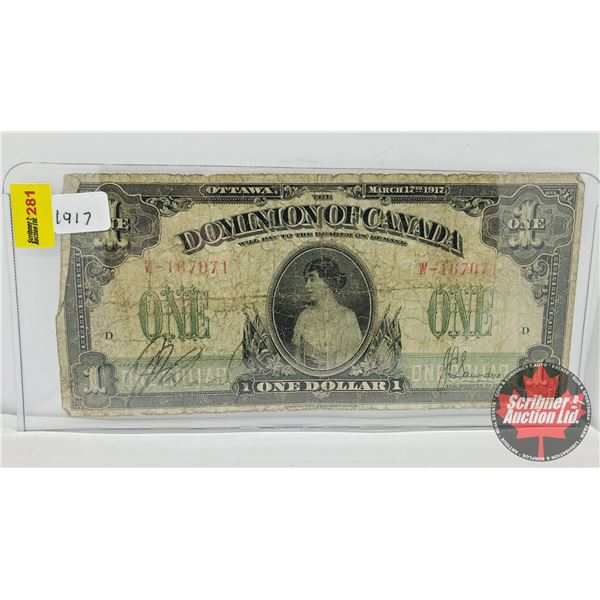 """Dominion of Canada $1 Bill 1917 """"Horse Blanket"""" (See Pics for Signatures/Serial Numbers)"""