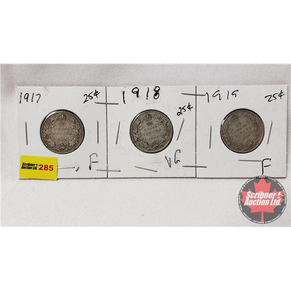 Canada Twenty Five Cent - Strip of 3: 1917; 1918; 1919