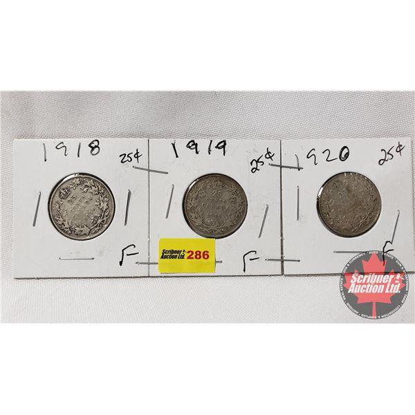 Canada Twenty Five Cent - Strip of 3: 1918; 1919; 1920