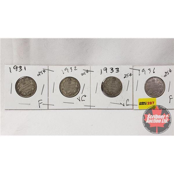 Canada Twenty Five Cent - Strip of 4: 1931; 1932; 1933; 1936