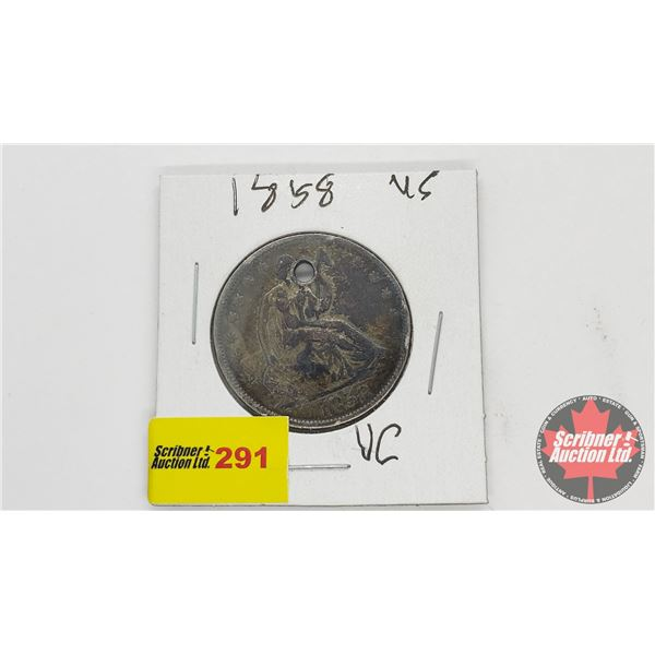 USA Half Dollar 1858 (Punched/Hole)