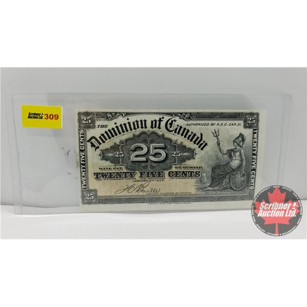 """Dominion of Canada Twenty Five Cent 1900 """"Shinplaster"""" (See Pics for Signatures/Serial Numbers)"""