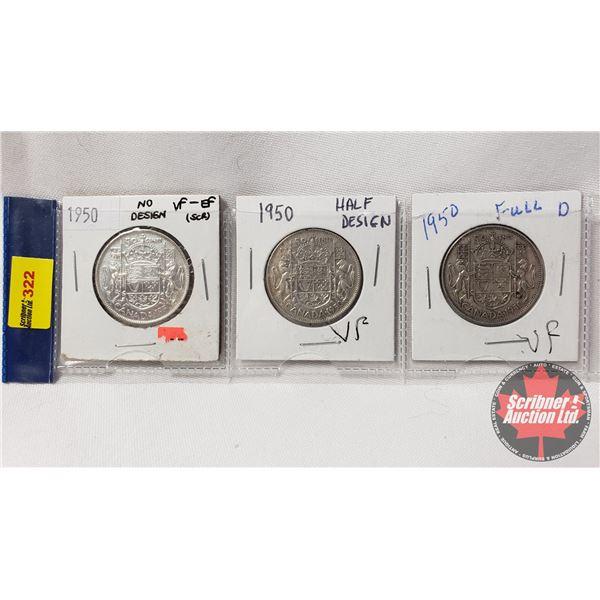 Canada Fifty Cent - Strip of 3: 1950 No Des; 1950 Half Des; 1950 Full Des