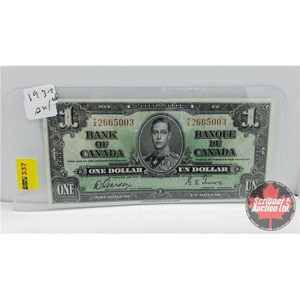 Canada $1 Bill 1937 : Gordon/Towers TA2665003