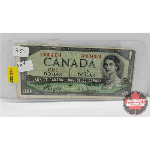 Canada $1 Bill 1954 : Coyne/Towers FA0004334 (NOTE: Low Serial #)