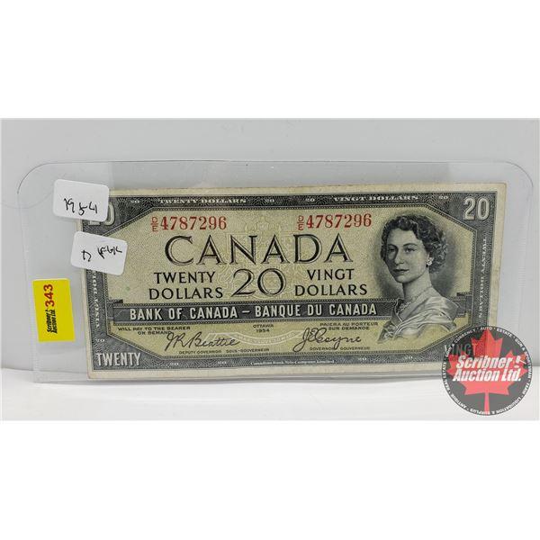 Canada $20 Bill 1954 : Beattie/Coyne DE4787296