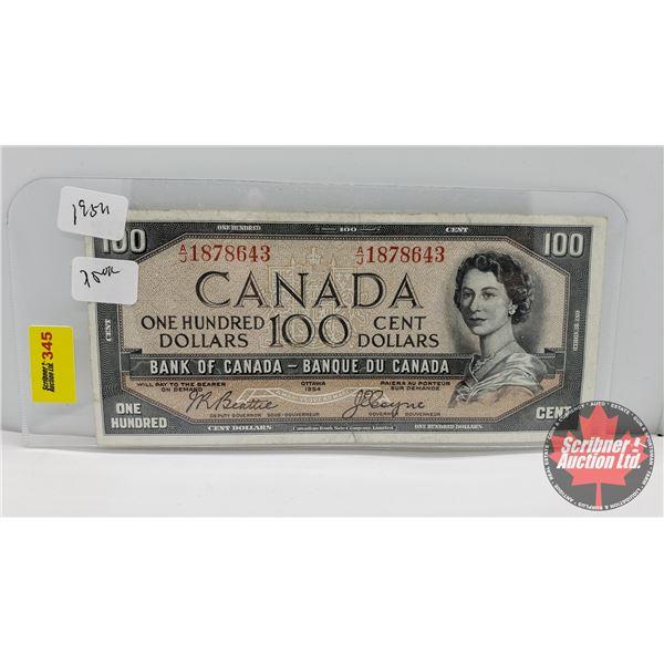 Canada $100 Bill 1954 : Beattie/Coyne AJ1878643 (Slight Tear Bottom Middle)