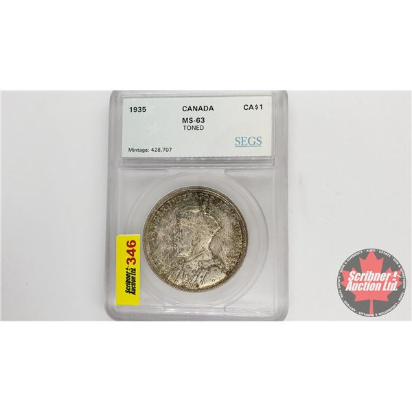 Canada Silver Dollar 1935 (SEGS Certified MS-63 Toned)